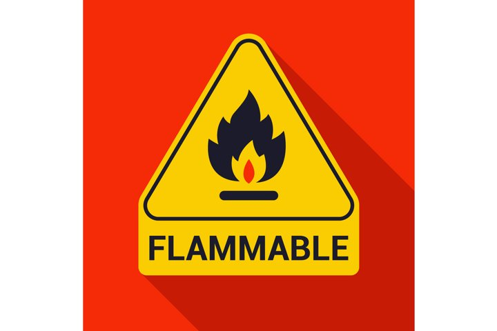 fire icon and inscription flammable.