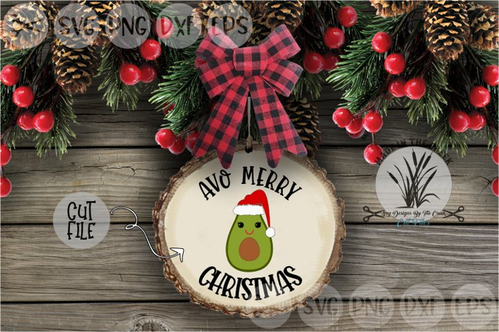 Avo Merry Christmas, Avocado, Santa Hat, Cut File, SVG