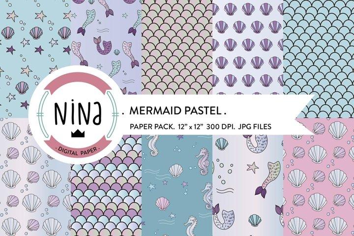Mermaid digital paper pack, nautical papers packs, pastels