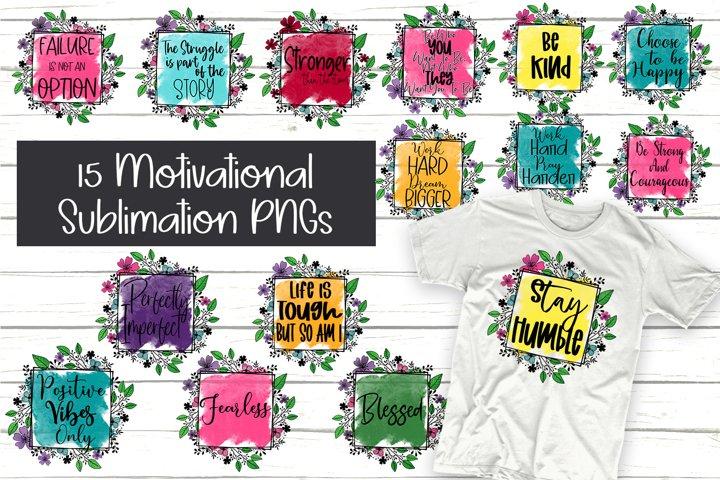 Sublimation Motivational Designs 15 PNG Bundle