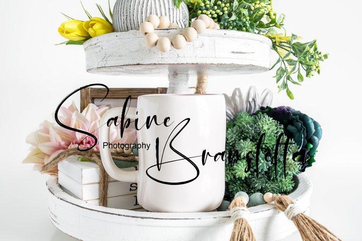 Mockup - Large Farmhouse Style White Coffee Mug Photography