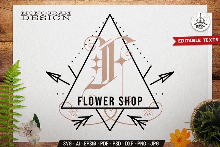 Flower Shop SVG Monogram Design With Sacred Geometry Symbols