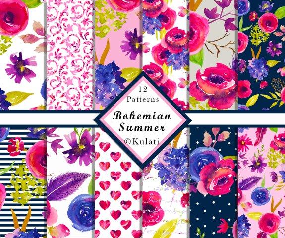 Bohemian Summer Watercolor Floral Patterns