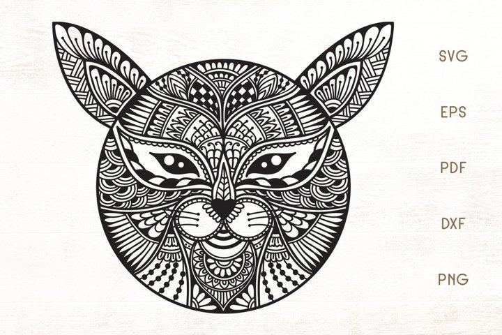Zentangle Cat Head SVG - Cat Doodle Art