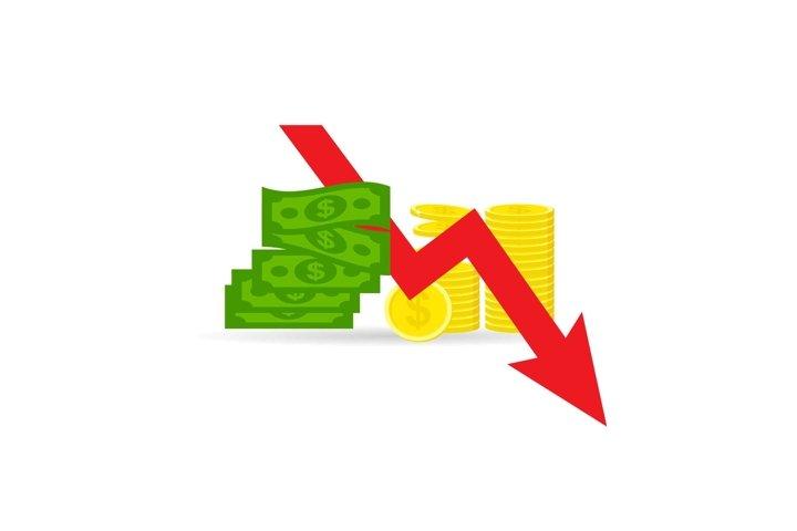 Money loss vector illustration