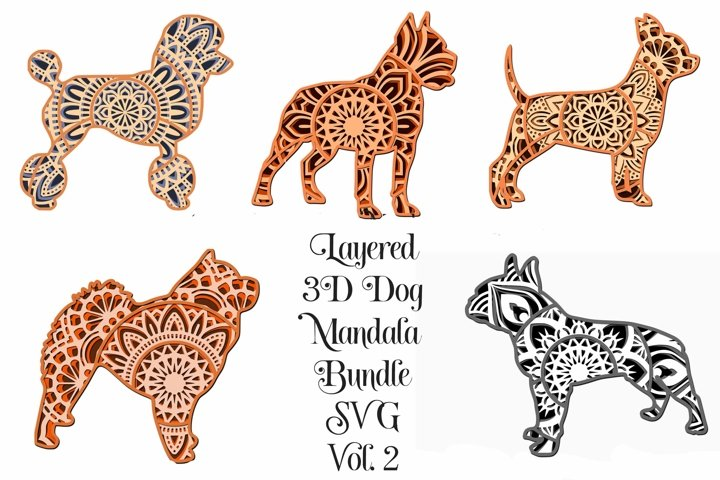 Dog Mandala SVG Bundle Volume 2- 3D Layered Mandalas