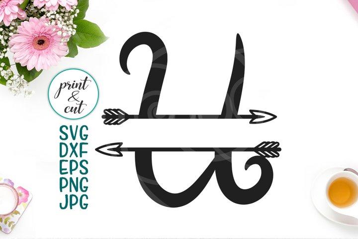 Monogram letter U svg dxf cut file, split font with arrows