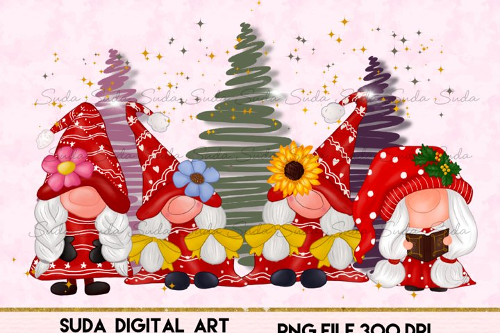 Gnomes cute Girl Christmas Design Sublimation