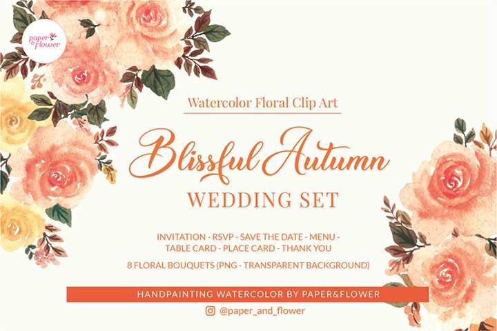 Blissful Peach Floral Watercolor Wedding Set