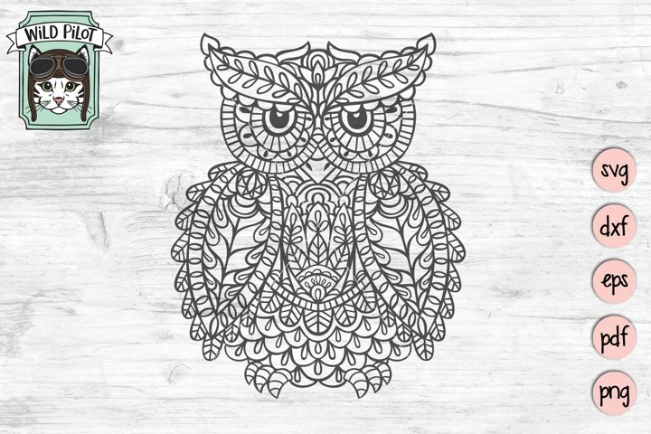 Owl SVG file, Owl Mandala SVG, Owl cut file, Owl vector