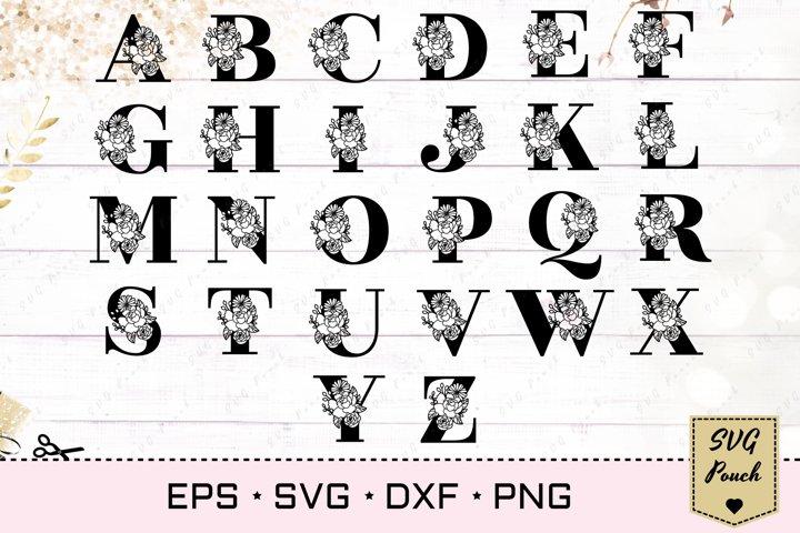 Floral letter O svg, Flower O monogram font initial SVG