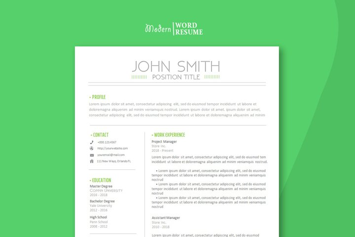 Resume 2 page template pluse Cover letter and Reference page