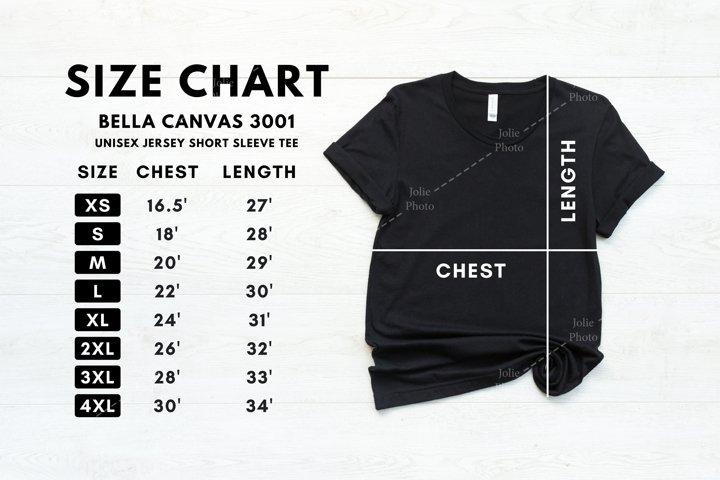 Bella Canvas 3001 Black T-shirt Size Chart Mockup Unisex