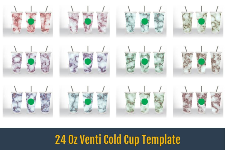 24 Oz Venti Cold Cup Template, Pink gold Marble