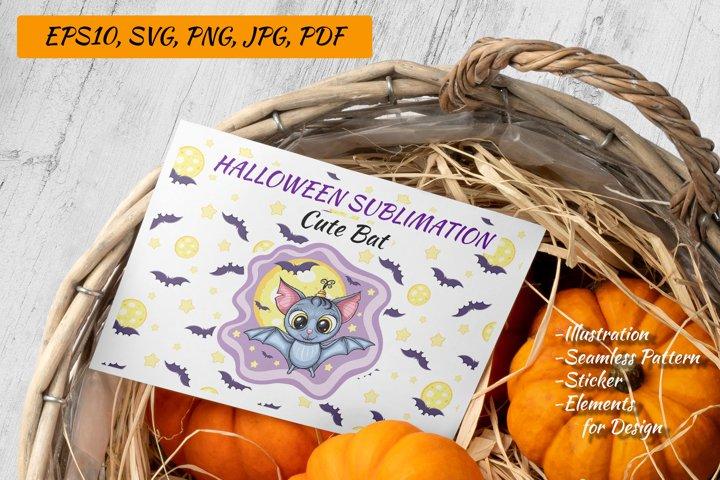 Halloween Sublimation | Cute Bat Illustration SVG PNG