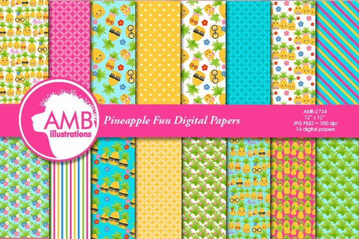Pineapple faces patterns, Funny pineapple pattern AMB-2734