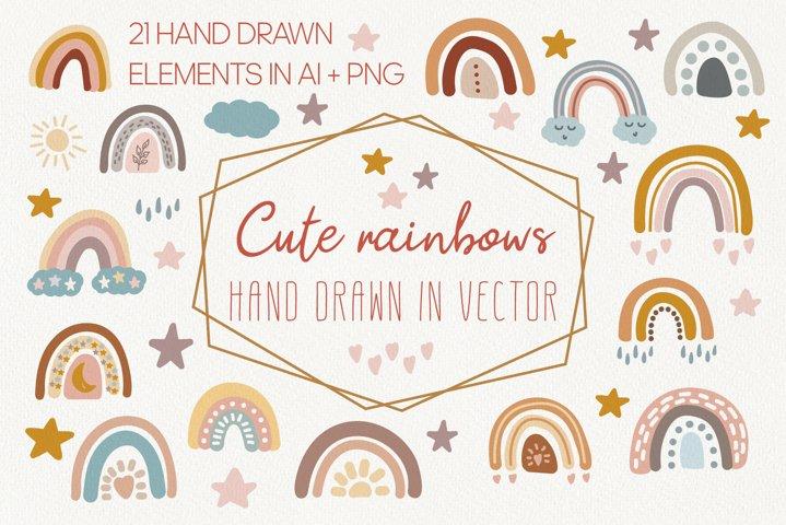 Cute vector rainbows clipart set