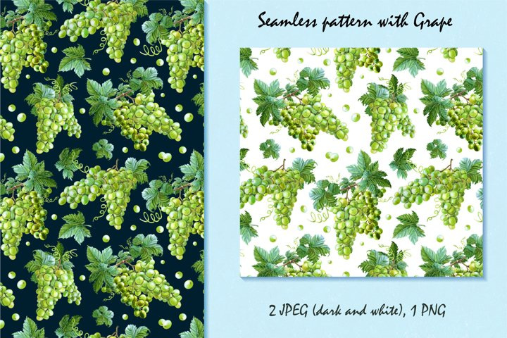 Watercolor pattern with grape
