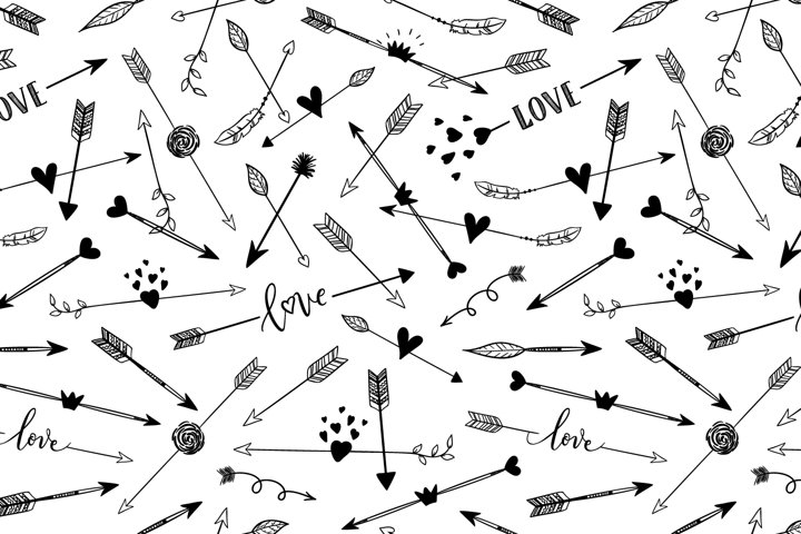 Hand drawn arrows seamless pattern