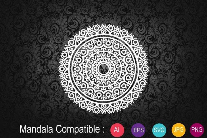 Mandala White Flower Sublimation Design SVG PNG JPG EPS