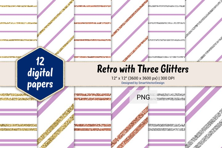 Pinstripes Retro with Three Glitters Color Combo #99