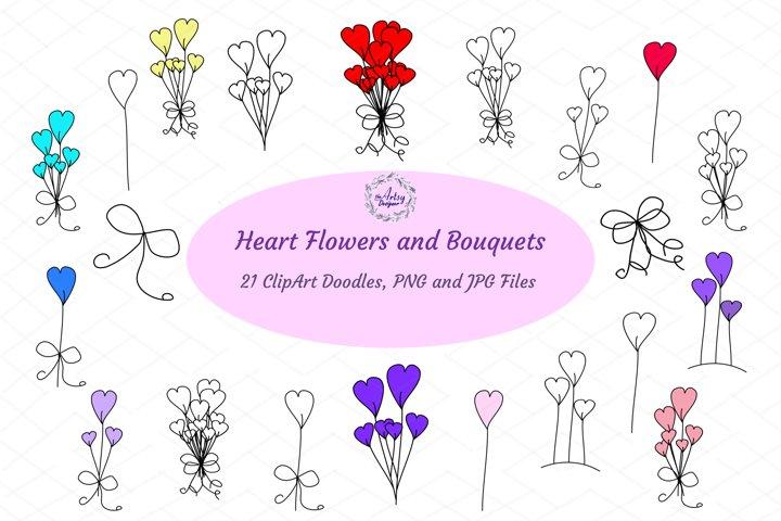 Heart Flowers Bouquet Valentines Day Romance ClipArt Bundle