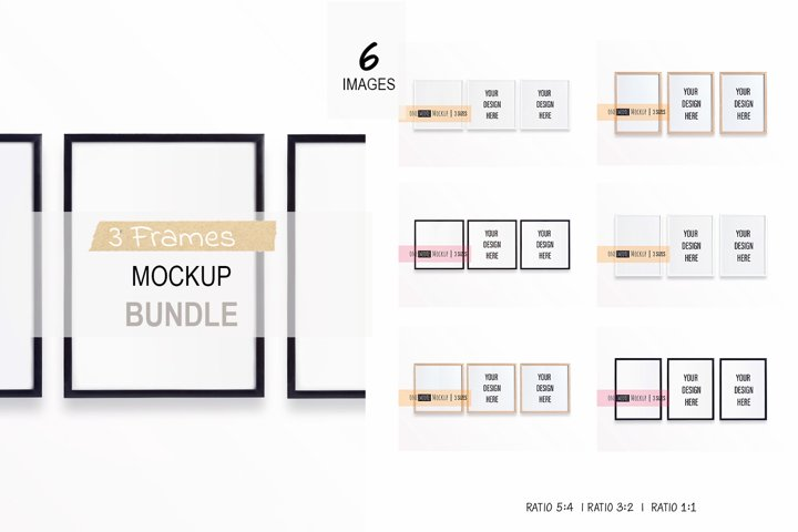 3 Frames Mockup Bundle | Vertical and Square Frame Mockups