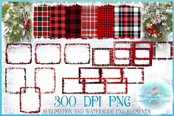 Red and Black Plaid Christmas Frames Grunge Distressed PNG