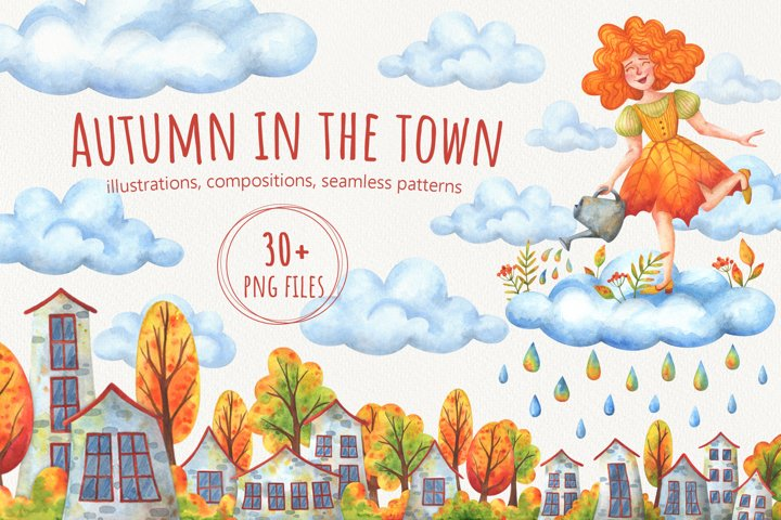 Autumn in the town. Watercolor collection.