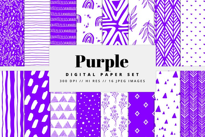 Purple Digital Paper Set