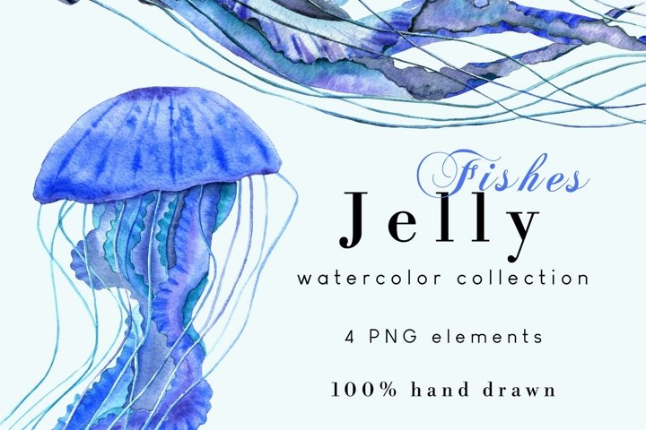 Jellyfish Watercolor Clipart Set of 4