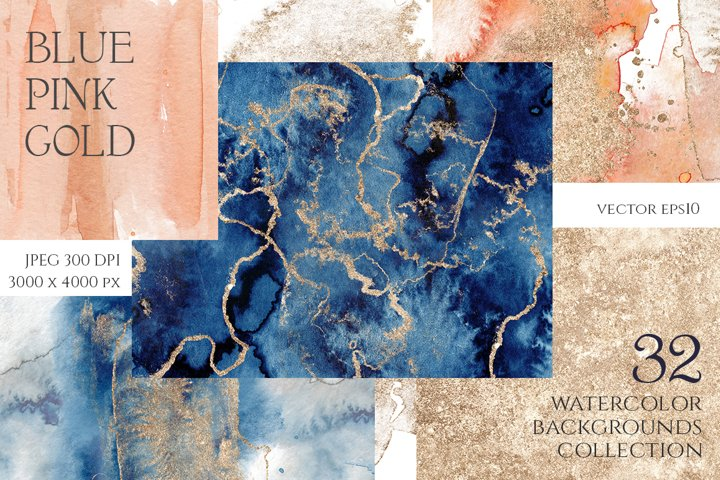 Blue, Pink & Gold abstract backgrounds