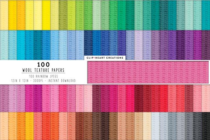 100 Wool/Yarn Texture Pattern Digital Papers - rainbow color