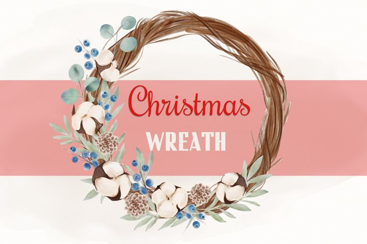 Christmas Watercolor Clipart, Christmas Wreath Clipart, PNG