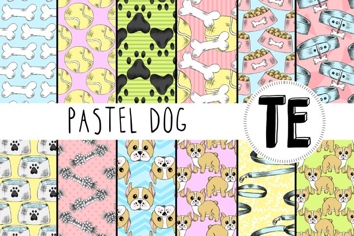 Pastel Dog Digital Paper Pack. 12 Seamless Patterns.