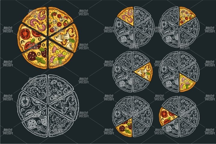 monochrome and color slice pizza Vintage vector engraving