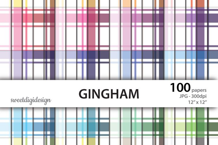 100 colors gingham, plaid seamless digital background