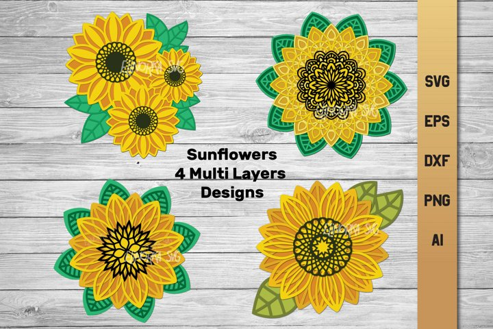 3d Layered Sunflower Bundle SVG | Multi Layer SVG | Cut File
