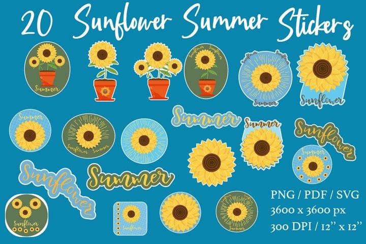 Sunflower stickers bundle. PNG PDF SVG.