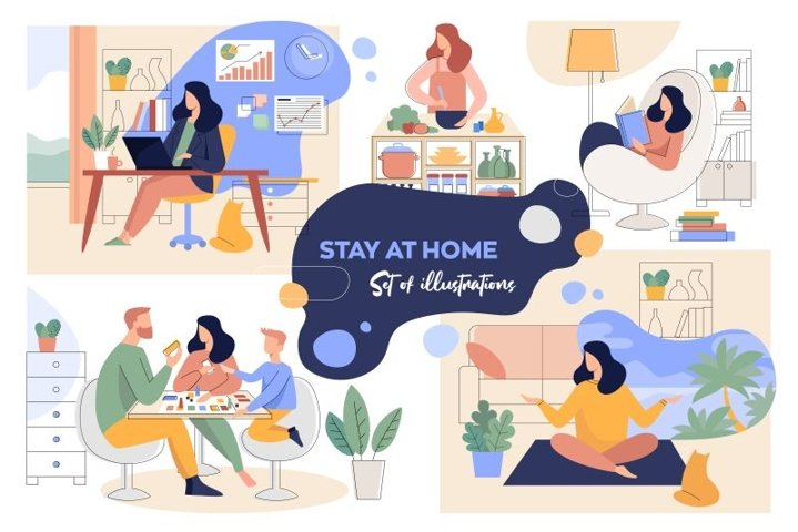 A set of illustrations on the theme of staying at home.