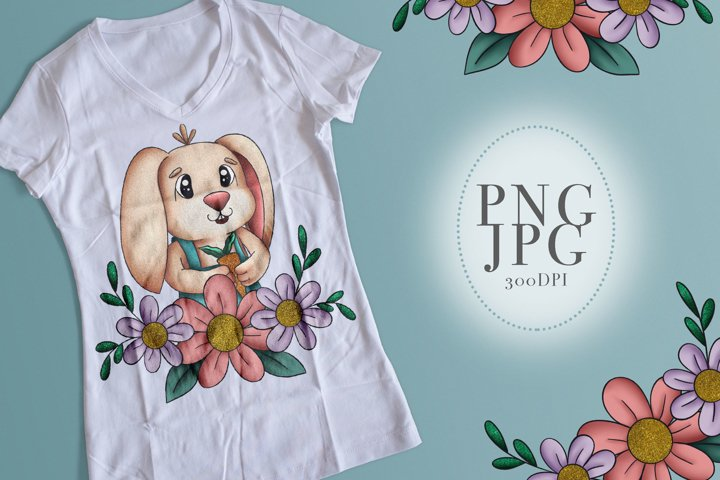 Cute Bunny with Flowers Sublimation PNG JPG