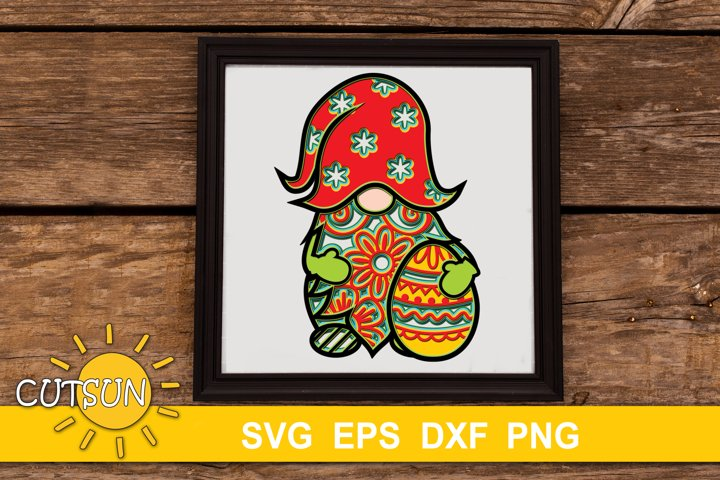 3D Layered Easter Gnome SVG - 7 layers   Easter SVG