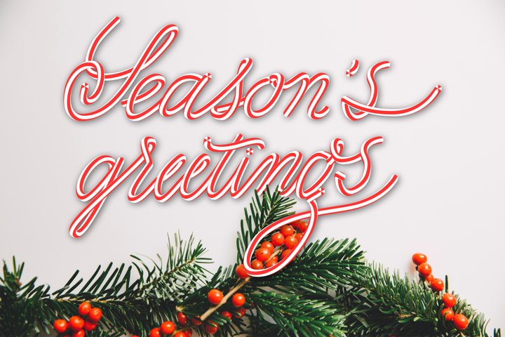 SEASONS GREETINGS hand lettering candy cane style SVG