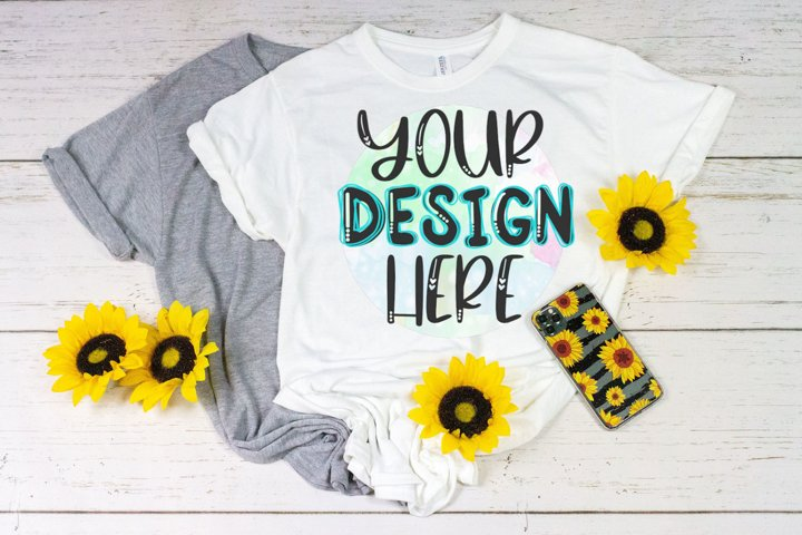 Sublimation Shirt Mock Up - Gray & White with Sunflowers
