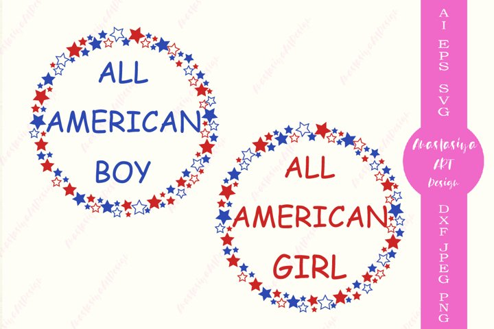 All american girl svg, All american boy svg, 4th of july