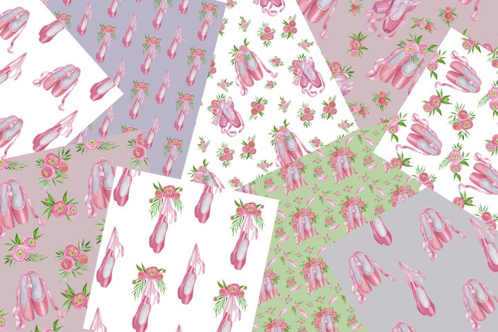 Floral Ballet Shoes Digital Papers Set example 2