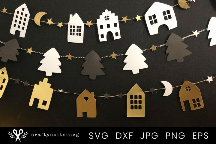 Christmas Banner Svg Bundle  Christmas Garland Cut File
