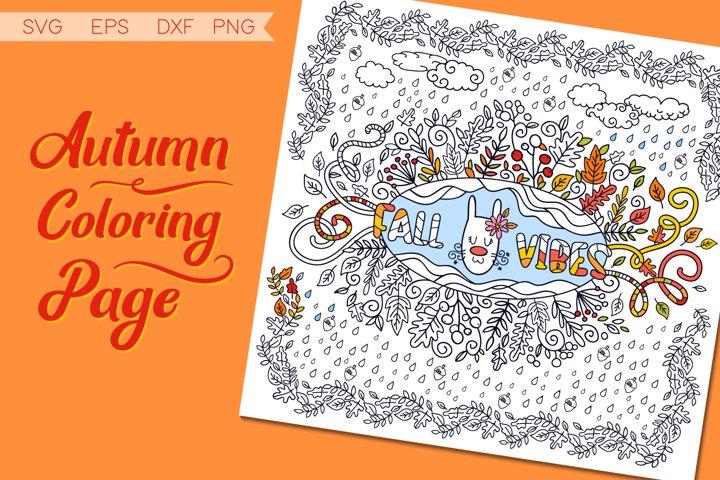 Autumn Coloring Page SVG cut file