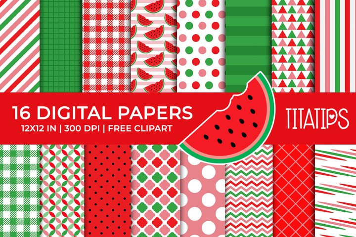 Summer Digital Papers Set, Free Watermelon Fruit Clipart example