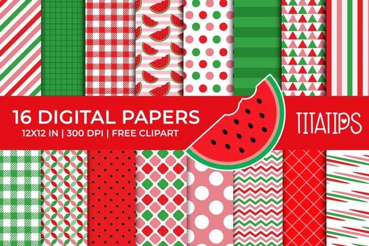 Summer Digital Papers Set, Free Watermelon Fruit Clipart